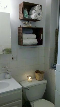 baskets as shelves. I've done this to our downstairs bathroom and it is wonderful for small spaces!