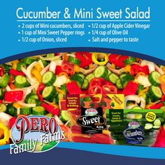 Here's a fun recipe that uses items you'll find in our NEW Healthy Box! Which you can find by clicking on the pic! CUCUMBER & MINI SWEET SALAD   -2 cups of Mini Cucumbers or Cucumbers, sliced   -1 cup of Mini Sweet Peppers, sliced into rings   -1/2 cup of Onion, sliced   -1/2 cup of Apple Cider Vinegar   -1/4 cup of Olive Oil  Salt and Pepper to taste    HOW TO MAKE IT   Mix all ingredients together in a medium mixing bowl. Serve cold and enjoy!  Serves 4