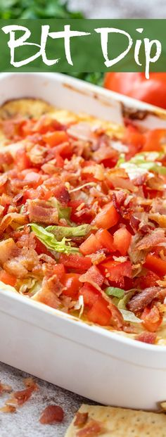 This easy and fabulous Baked BLT Dip recipe is sure to be a hit at your next get together. Layered with bacon, lettuce, tomato, and cheese, this appetizer brings together the classic BLT flavors everyone loves.