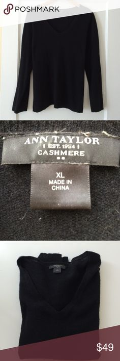 Ann Taylor Cashmere Sweater in Black (XL) Soft and warm, this black Ann Taylor v-neck cashmere sweater is perfect for fall and winter! No holes or stains, just beginning signs of piling. Ann Taylor Sweaters V-Necks
