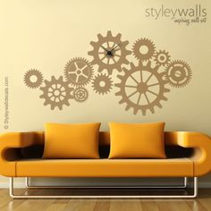 This Cogwheels and Gears Clock is originally designed by Styleywalls. The decal measures 46w x 23h  We can produce the decal in any size you like, just contact us for pricing. The clock mechanism is not included.   ©Original Styleywalls Art Design  [ABOUT OUR WALL DECALS] -Our Vinyl Material is high quality matte finish, so it will not glare and will look painted on. Much faster, cleaner and easier than painting. -Our Vinyl Wall decals are easy to install and removable but may not be…