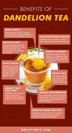 13 Amazing Benefits of Dandelion Tea for Your Health and Skin Health Benefits of Dandelion Tea. Food facts Amazing Benefits of Dandelion Tea for Your Health and Skin Health Benefits of Dandelion Tea.