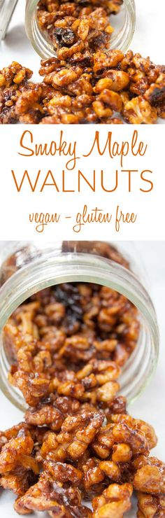 Smoky Maple Walnuts (vegan, gluten free) - These walnuts are bathed in maple syrup and smoky flavors, then cooked on the stovetop until they become candied. Vegan Appetizers, Vegan Snacks, Easy Snacks, Appetizer Recipes, Healthy Snacks, Snack Recipes, Easy Meals, Appetizer Ideas, Fish Recipes