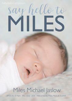 Hello BIRTH ANNOUNCEMENT - Photo Baby Announcement - Baby Girl Annoucement…
