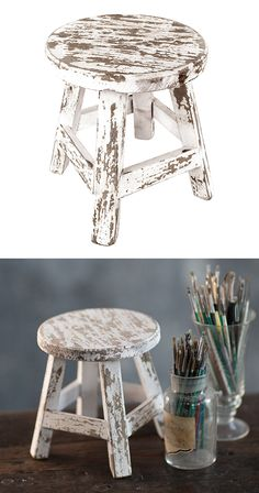 Pay homage to the traditional painter's go-to resting place with this desk-sized seat. Crafted from wood and covered with wonderfully antiqued white finishing, this Mini Decorative Stool is truly a cha...  Find the Mini Decorative Stool, as seen in the A Rustic Cottage Collection at http://dotandbo.com/collections/a-rustic-cottage?utm_source=pinterest&utm_medium=organic&db_sku=116028