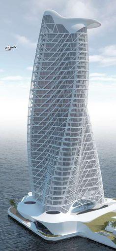 Strata Tower, Abu Dhabi, Emiratos Árabes Unidos. Por Asymptote Architects. 40 pisos, la altura de 160m.