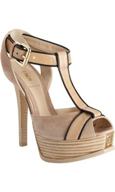Peep Toe Platform Sandal by Fendi