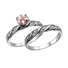 Natural peach/pink 1.60 CT VS Morganite Ring with Diamonds White Gold 14K Wedding Set Engagement Rings Vintage Rings