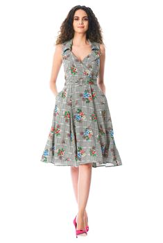 I this Notch collar floral houndstooth print belted dress from eShakti
