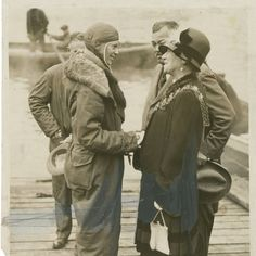 """""""Amelia Earhart being greeted by Mrs. Foster Welch, Mayor of Southampton, June 20, 1928"""" Source: Wikipedia #oldtimez"""