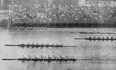 1930 Olympics: The American crew (top) crosses the finish line first, Italy second and Germany third