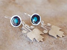 Blue Flower Earrings, Sterling Silver Jewelry by serpilguneysu on Etsy