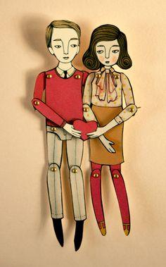 miniature moveable valentine dolls. $15.00, via Etsy.