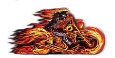 Flaming Motorcycle Bike Biker Sticker Vinyl Decal Art by Hot Leathers | eBay
