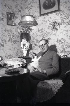 Man and his cat by the ghost of me, via Flickr