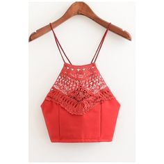 Sexy Spaghetti Straps Tied Back Lace Crochet Plain Cropped Cami Tank (€17) ❤ liked on Polyvore featuring tops, crochet tank top, lace tank, sexy crop top, red tank top and crop top