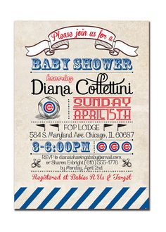 Chicago Cubs Baby Shower Invitation Baseball by digibuddhaPaperie @Katie Schmeltzer Matyi Brent would love this. Lol