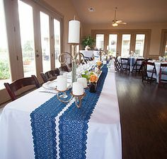 Head Table • Navy Lace Runners • Iron Candelabras • Floral | Elevated Rustic Wedding | South Texas wedding & event planning