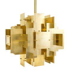 Suspension Puzzle Chandelier / H 50 cm Noir / Laiton doré - Jonathan Adler - Décoration et mobilier design avec Made in Design