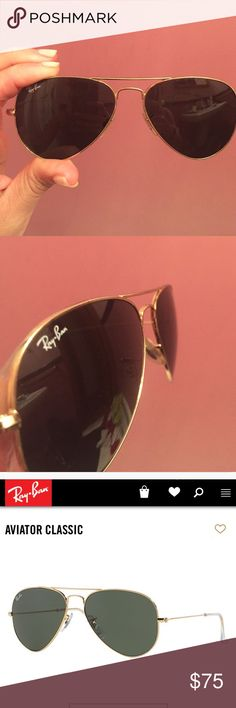 Black & gold Raybans size 55 aviator sunglasses Black & gold Rayban aviator sunglasses size 55 which is the smaller size & polarized. These are used but still in good condition. A few scratches you can buff out! I always take offers! =) Ray-Ban Accessories Glasses
