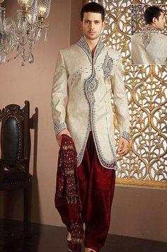 USD 367.28 Cream Silk Patch Work Pathani Suit 41003