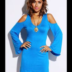 """Pretty & soft AQUA BLUE cut out, bell sleeve dress Saturated gorgeous aqua blue,  sheer, cold shoulder and cut out back, with bell sleeves,  dress. 95% light weight, sheer, soft Rayon, 5% Spandex. Made in USA. Model is 5'7"""", wearing a size Small. Size Small Length Approx 34"""",  S,M,L WF9CL27.   Avail for next day mail. Dresses"""