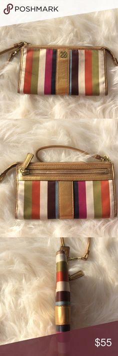 Coach Wristlet Cute little striped nylon multicolored zip top Wristlet with lots of room for cards and cash and coins. Great condition. Coach Bags Clutches & Wristlets