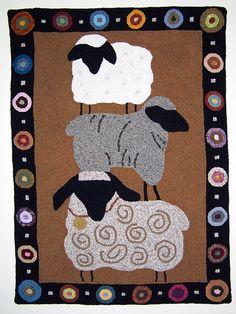 three sheep wool rug
