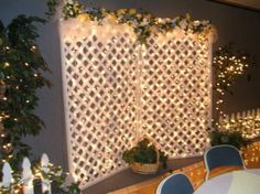 Wedding Backdrop with Lights Lattice Backdrop Decorations, Backdrops, Wedding Decorations, Backdrop Lights, Backdrop Ideas, Trendy Wedding, Unique Weddings, Rustic Wedding, Summer Wedding