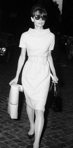 Audrey Hepburn in Rome, Photo by Rino Barillari c. 1960's. She wore this fashion look in 'Charade', with Cary Grant.                                                                                                                                                                                 More