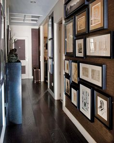 grasscloth wallpaper - love the richness the wallpaper creates on this hallway photo art wall