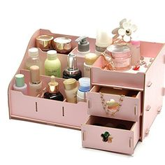 Find manufacturers show Seoul explosion trumpet desktop wooden makeup box DIY wood Korean cosmetic storage Desk Drawer Organisation, Diy Drawer Organizer, Makeup Organization, Office Storage, Wooden Box Crafts, Wooden Diy, Wooden Storage Boxes, Wood Boxes, Makeup Box Diy