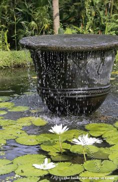 The way this fountain is made is one of the easiest ways to add sound and motion to a new pond or even existing landscaping and garden ideas. On some existing ponds and water gardens that don't have a waterfall or fountain, it could be too messy or expensive to add a waterfall. Doing this would be quite simple. And even with such a small surface, the amount of water flowing over the edge of this pot is enough to produce the soothing and relaxing sound of water.