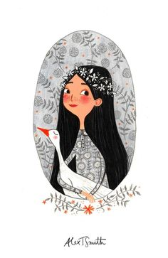 littlechien via carnetimaginaire carnetimaginaire: Alex T Smith, The Girl and the Goose. Drawing with something outside the frame Art And Illustration, Illustration Mignonne, Character Illustration, Illustrations Posters, Animal Illustrations, Desenho Kids, Arte Sketchbook, Art Inspo, Art Girl