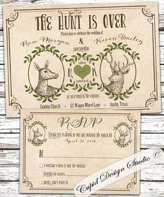 Deer wedding invitations. Rustic outdoor wedding by CupidDesigns