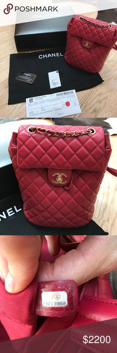 Chanel backpack Chanel  small lamb skin urban spirit backpack. The color is called dark pink. I'd say it's a reddish pink. It has gold hardware. It has one inside zip pocket and slip pocket and one flat pocket on the back. The bag is 3 months old. The leather is darker on the top chain strap from carrying in hand. The back corners of the bag leather is a little darker from normal wear. Over all bag is in great shape. CHANEL Bags Backpacks