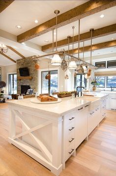 Open concept, natural light, island detail Kitchen, ideas, diy, house, indoor, organization, home, design, cook, shelving, backsplash, oven, desk, decorating, bar, storage, table, interior, modern, life hack.