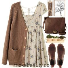 Brown outfit, brown cardigan outfit, dress with cardigan, rustic outfits,. Pretty Outfits, Fall Outfits, Summer Outfits, Casual Outfits, Fashion Outfits, Dress Casual, Fashion Ideas, Converse Outfits, Fashion Shirts