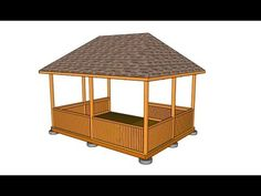 This step by step diy project is about simple rectangular gazebo hip roof plans. This is PART 2 of the project, where I show you how to build the hip roof for the rectangular gazebo. This hip roof is really sturdy and it has a steep slope. Screened Gazebo, Diy Gazebo, Wooden Gazebo, Gazebo Plans, Small Pergola, Patio Gazebo, Pergola Attached To House, Metal Pergola, Pergola Shade