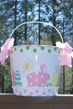 Girls Easter Basket... Easter Bucket... by SwankyBabyBoutique