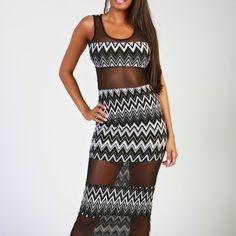 Traci chevron maxi dress