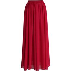 Chicwish Wine Red  Pleated Maxi Skirt ($36) ❤ liked on Polyvore featuring skirts, bottoms, long skirts, saia, red, chiffon skirt, red skirt, long accordion-pleat skirt and pleated skirt