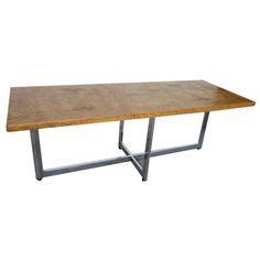 1stdibs.com | Milo Baughman Burled  Olivewood Chrome Coffee Table Mid-century