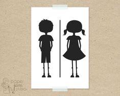 Little Girl Boy Bathroom Sign Fun Toilet Symbol Amenities