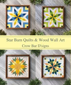 Add a splash of color to your wall space with a decorative wooden barn quilt. Find handmade barn quilts featuring star quilt block patterns in bright yellow colors. These are ideal for your rustic style kitchen, living room, bedroom, or home office decor. They are handcrafted with premium cedar wood and each design hand painted with acrylic paints. Visit Crow Bar D'signs and choose from a variety of ready to ship wooden quilt block or order a custom one just for you. Star Quilt Blocks, Quilt Block Patterns, Pattern Blocks, Barn Quilt Designs, Quilting Designs, Mosaic Wall Art, Wood Wall Art, Kitchen Living, Living Room