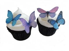CUPCAKE TOPPER - 24 Edible Butterflies in Purple and Blue - Cake Topper, Cupcake Decoration, Wedding Cup Cake. $9.95, via Etsy.