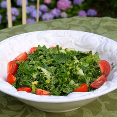 Kale/Avocado salad.  New ways to eat Avocado (swiftly becoming my fave food) and Kale (up-and-comer!)