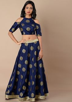 e93ac805c90 Cold Shoulder Silk Crop Top - Navy Foil. Western Dresses For WomenWestern  OutfitsTunics OnlineBuy ...