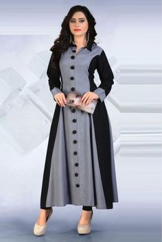This Pure Rayon Grey Colour Kurti Is The Fun Attire Of The Moment. Get It On And Style It With A Handbag And Earings For The Perfect Day Look. Its Party Wear And Cute - The Essentials For Your Wardrob...