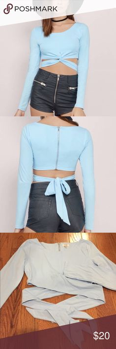 NWT Tobi Crop Top Carolina/sky blue long sleeved Tobi crop top. NWT, size medium. The pictures of the model wearing it are the true color of the shirt. Super cute because you can criss cross it and tie it! Tobi Tops Crop Tops